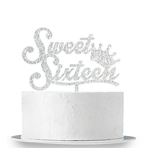 INNORU Sweet 16 Cake Topper - Silver Crown