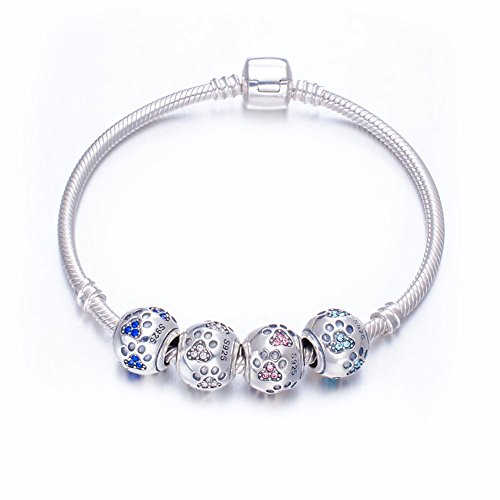 ENJOOOY Sterling Silver Dog Paw Print Charm Beads with Cubic Zirconia Crystals fit Pandora Style Beaded Bracelets for Pet Lovers by ENJOOOY (Image #3)