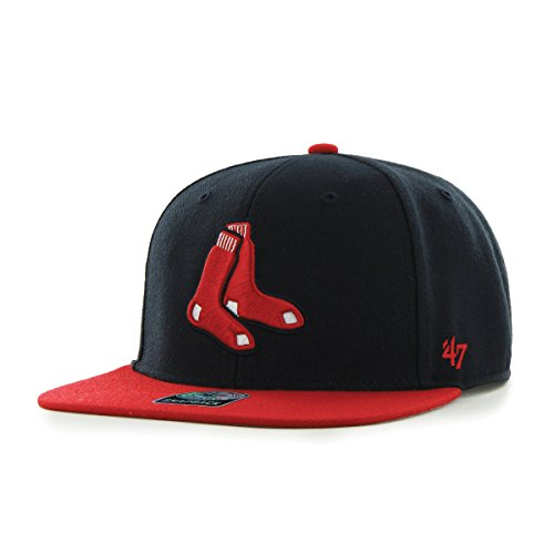 ('47 MLB Boston Red Sox Sure Shot Two Tone Captain Adjustable Snapback Hat, Navy, One Size)