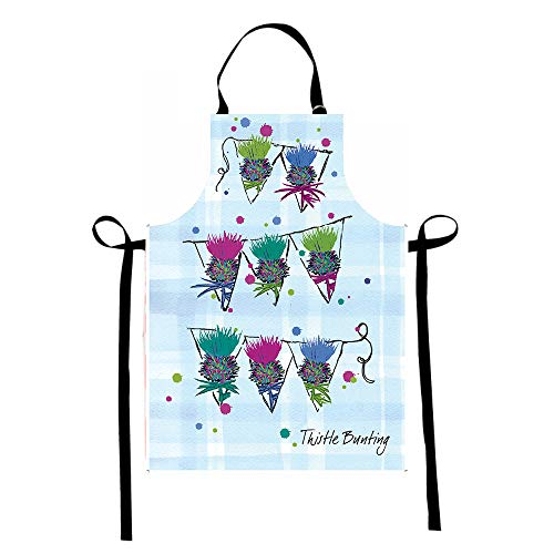 Scottish Thistle Cooking Baking Apron - Scottish Gifts with Unique Artwork on Plaid Background