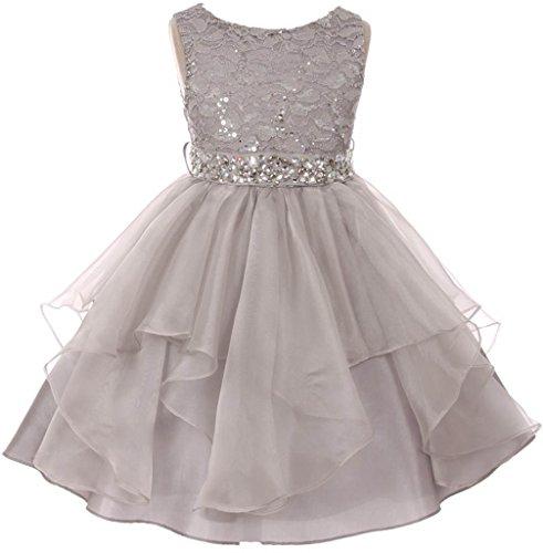 BNY Corner Big Girl Flower Girl Dress Sequin Lace Top Rhinestone Belt & Ruffle Skirt Silver 12 ()
