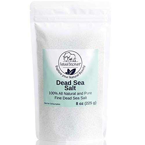 Dead Sea Salt Fine Grain 8 oz (226 g) by Natural Elephant 100% Natural & Pure for Psoriasis Eczema Acne & Other Dermatological Needs (Sea Salt Psoriasis)
