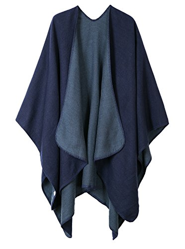 Warm Shawls And Wraps Open Front Cardigan Elegant Solid Color Poncho Cape Coat (Navy Blue)]()