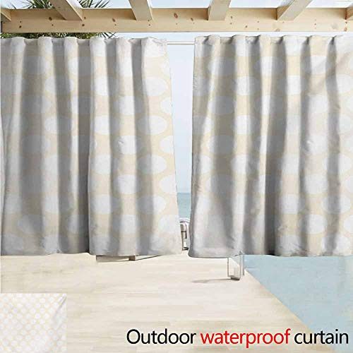 (Ivory Outdoor Grommet Top Curtain Panel Retro Large Polka Dots Pattern with Big Circles Disc Shaped Rounds Soft Illustration Perfect for Your Patio, Porch, Gazebo, or Pergola W55 xL72 White Beige)