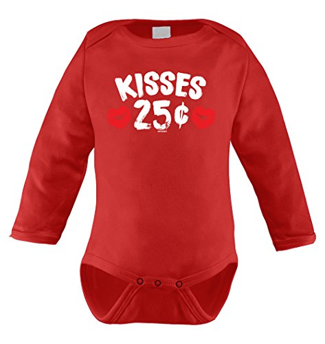 Kiss Outfits (Kisses 25 Cents Infant Long Sleeve Bodysuit (Red, 18 Months))