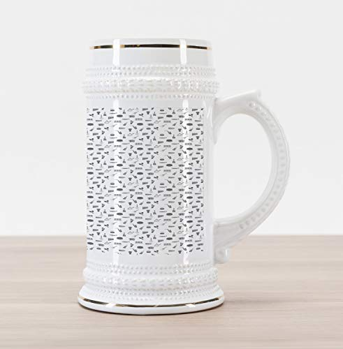 Lunarable Musical Beer Stein Mug, Flat of Pan Flute Maracas Accordion Harp Guitar and Tambourine, Traditional Style Decorative Printed Ceramic Large Beer Mug Stein, Charcoal Grey and White