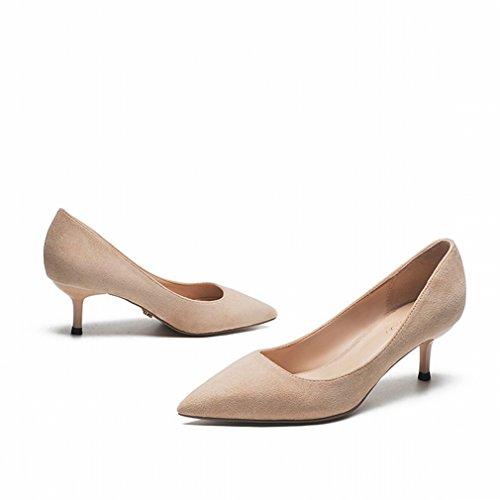 Zapatos de Gamuza con Punta de Tacón Alto Bien con Zapatos de Soltero de Mujer de Boca Baja UN