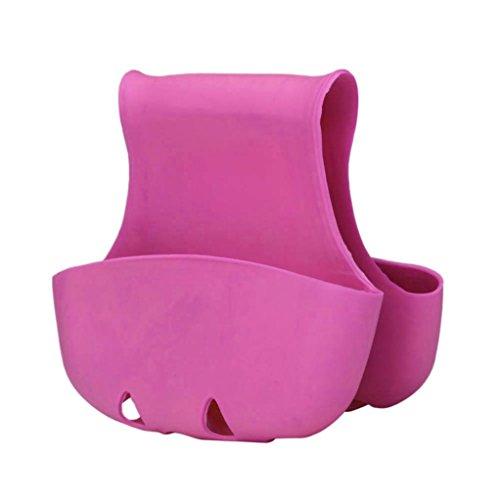 DZT1968 1pc Double plastic Sink Caddy Saddle Style Kitchen Organizer Storage Sponge Holder Rack Tool (Hot Pink)