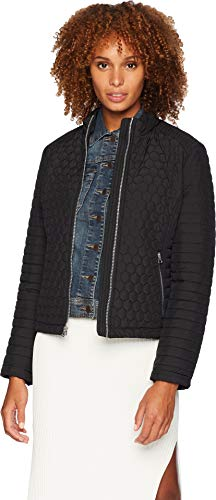 Marc New York by Andrew Marc Women's Linden Honeycomb Mini Quilted Scuba Jacket Black Medium
