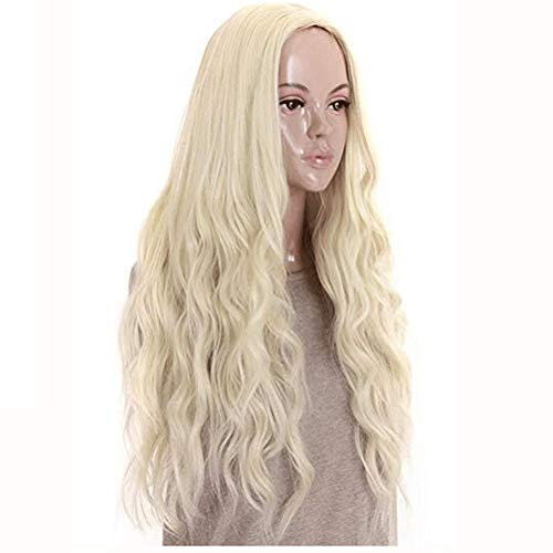 Platinum Blonde Curly Wavy Female Heat Resistant Synthetic Hair Wig 26 Inches ( Color : Platinum Blonde , Size : 26 inches )]()