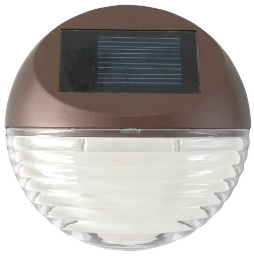 Moonrays 95027 Solar Deck Light Wall Mount Sconce, Round Led Round Wall