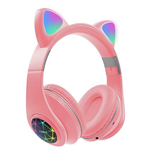 HNQH Bluetooth hoofdtelefoon met kattenoren, hoofdtelefoon voor kinderen met oren erop, draadloze bluetooth koptelefoon…