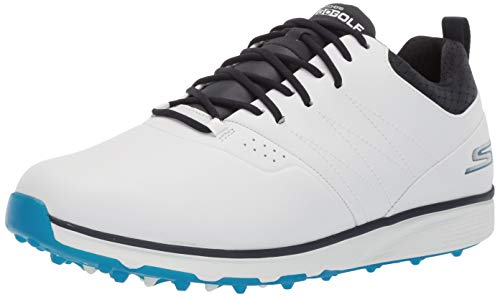 Skechers Men's Mojo Waterproof Golf Shoe, White/Blue, 12 W US