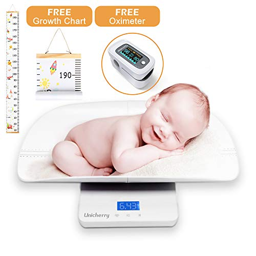 Baby Scale, Multi-Function Digital Baby Scale with Free Growth Chart to Measure Your Baby, Dogs, Cats, Adults Weight Accurately, with 3 Weighing Modes, Holding Function, Blue Backlight, Height Tray