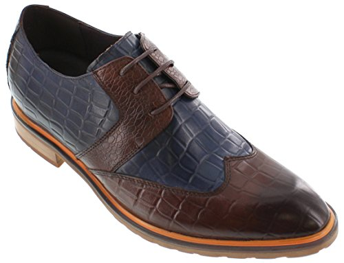calto - g329082-6,6 cm Grande Taille - Hauteur Augmenter Ascenseur shoes-blue/marron à lacets