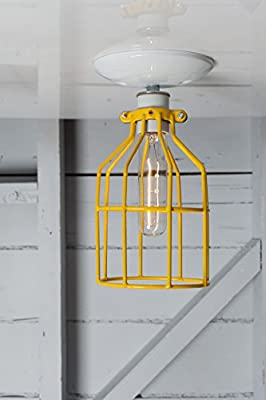 Cage Light - Yellow Cage - Semi Flush Mount Industrial Light - White