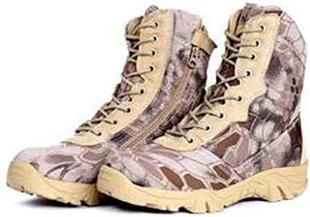 耐久性のある男性ハイキングブーツオックスフォードキャンバスアンチキックの足キャップあきラバーソールのために滑り止めのレースアップスタイルコンフォート屋外のための砂漠の戦闘ブーツ (色 : 緑, サイズ : 27 CM)