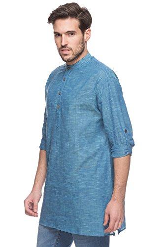 d249cac8 Shatranj Men's Indian Mid-length Kurta Tunic Banded Collar Textured Shirt