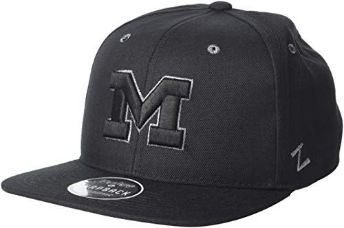 - ZHATS NCAA Michigan Wolverines Men's Z11 Ebony Snapback Cap, Adjustable, Black