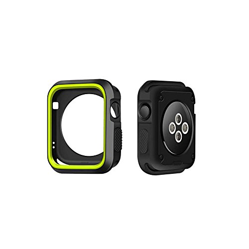 Hewoo Rugged Protector Armor Rubber TPU Watch Case with Cover Bumper for 42mm Apple Watch Series 3 / Series 2 / Series 1 (Green)