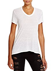 Wilt Womens Shrunken Boyfriend Stripe Tee In White/White Size Small