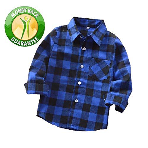 (Rainlover Little Boys' Long Sleeve Button Down Plaid Flannel Shirt (5T, E005))