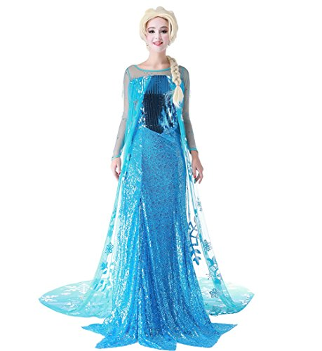 Elsa Adult Dress (Snow Queen Elsa Fancy Dress Cosplay Costume with Wig ,Blue,medium)