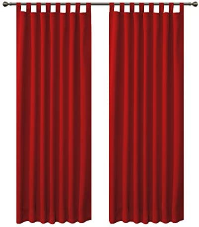 FLOWEROOM – Tende oscuranti per camera da letto, termiche isolate, per soggiorno, 2 pannelli, 280 x 140 cm, colore: Rosso