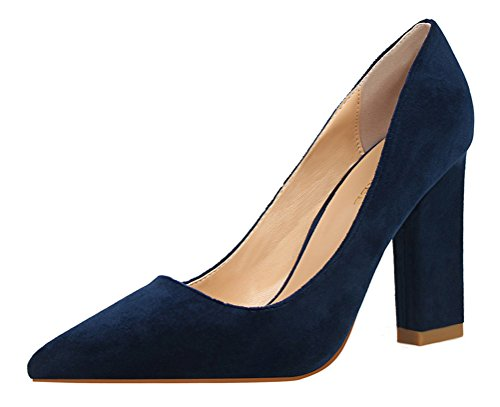 T&Mates Womens Fashion Satin Pointed Toe Block Heel Slip-on Low Top Party Wedding Pumps Shoes (5.5 B(M) US,RoyalBlue)