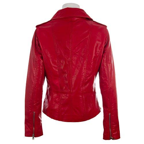 de Rojo auténtico cremalleras de Chaqueta cuero entallada varias con muy de MDK asimétricas mujeres motorista de suave Hfxwqdxa