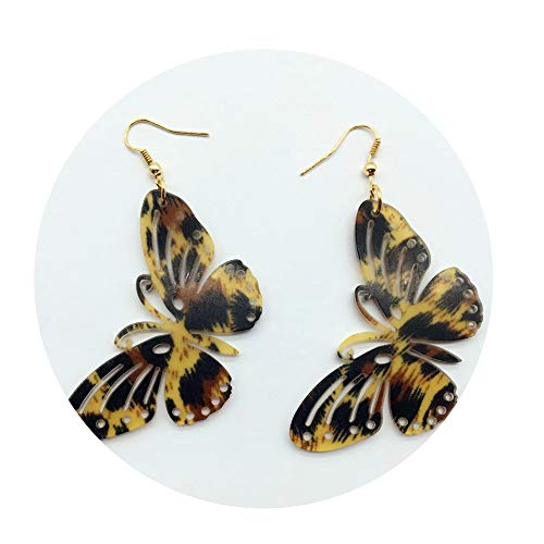 (CAIYCAI Personality Stripe Leopard Color Acrylic Butterfly Earring Pair Hollow Big Handmade,Color 5)