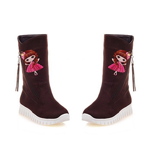 Pattern Heels Closed Round Boots Top Women's Toe AmoonyFashion Cartoon Frosted Low Brown Low wvqS4FnX