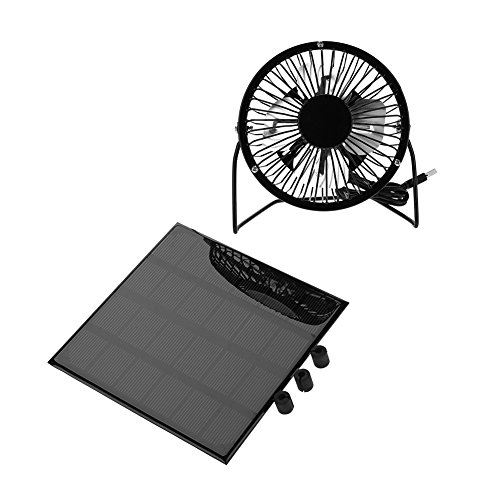 T-best 3W 6V Solar Panel Powered USB Mini Fan Outdoor Solar Panel Portable Cooling Fan