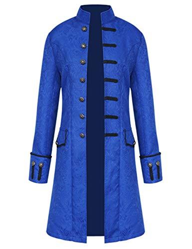 Mens Vintage Tailcoat Jacket Steampunk Victorian Uniforms Formal Tuxedo Coat Tie (XXL, Blue) ()