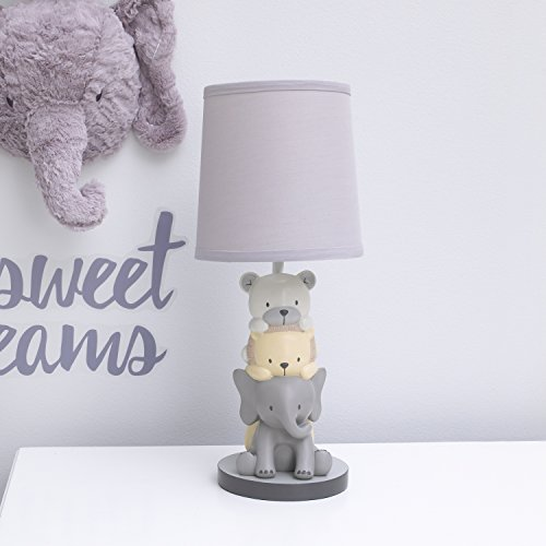 NoJo Play Day Pals Elephant/Animal Lamp Base and Shade, Grey, Cream, Charcoal by NoJo