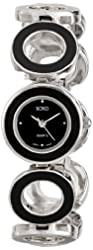 XOXO Women's XO5213 Silver-Tone and Black-Enamel Bracelet Watch