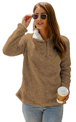 Angashion Womens Sweatshirt - Long Sleeve 1/4 Zip Up Faux Fleece Pullover Hoodies Coat Tops Outwear with Pocket 174 Brown XL