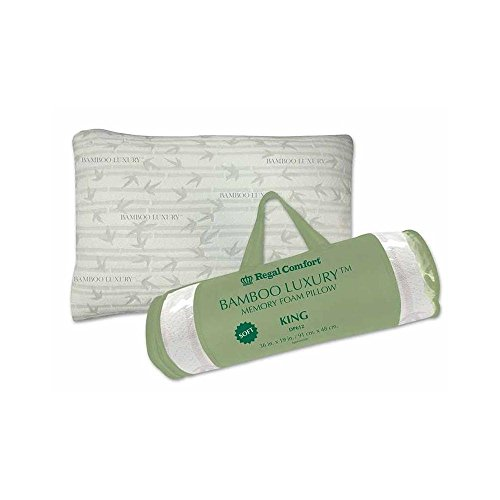"Regal Comfort® Bamboo Soft Memory Foam Bed Pillow- King 36""x19"""