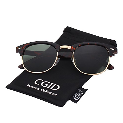 CGID Clubmaster Premium Classic Inspired Half Frame Horn Semi-Rimless Rimmed Sunglasses with Metal - Women Sunglasses Browline