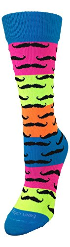 TCK Sports Neon Rainbow Fun Print OTC Socks (Mustache, Medium) -
