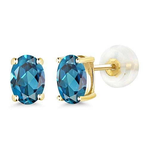Gem Stone King 1.00 Ct Oval 6x4mm London Blue Topaz 14K Yellow Gold Stud Earrings