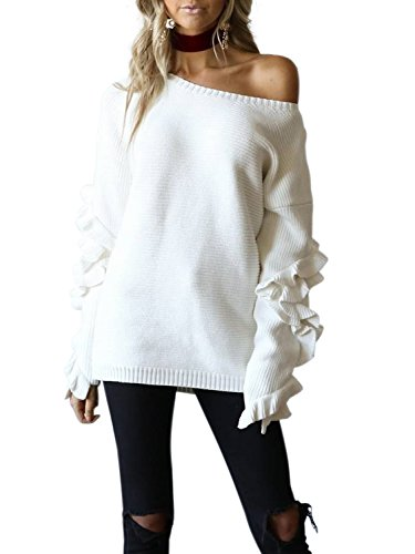 Simplee Apparel Womens Loose Crewneck Ruffles Long Sleeve Sweater Pullover ,White,One Size