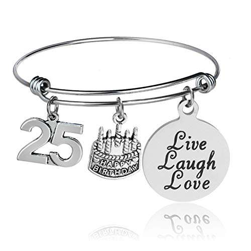 YEEQIN Happy Birthday Bangles, Cake Cheer Live Laugh Love Charms Bangle Bracelets, Gifts for Her (25th Birthday)