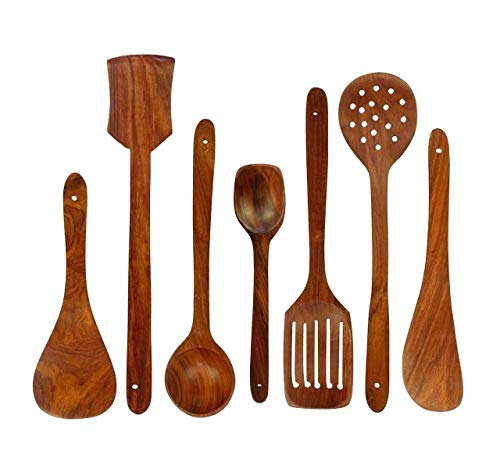 Craftatoz A to Z Wooden Spoons for Nonstick Cooking and Serving Pan and Spoon (Brown) – Set of 7 Price & Reviews
