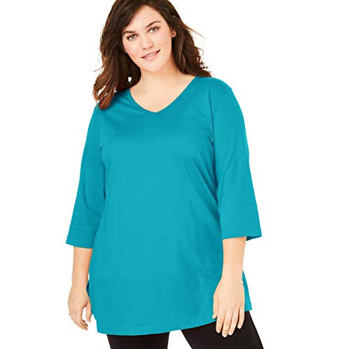 (Woman Within Women's Plus Size Perfect V-Neck Three-Quarter Sleeve Tunic - Deep Turquoise, L)