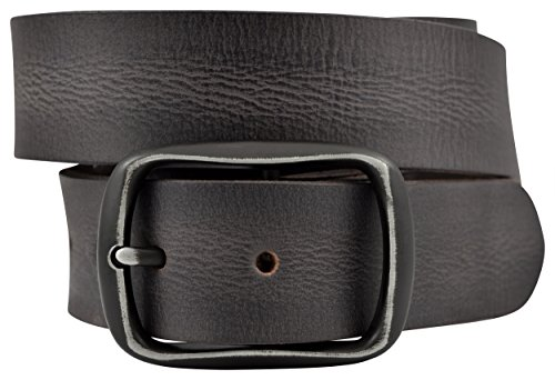 Men's Vintage Full Grain Buffalo Leather Belt w/ Black Buckle - Black Center Bar Buckle - By TheBeltShoppe.com (44)