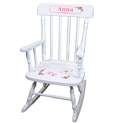 Personalized Tea Party White Childrens Rocking Chair by MyBambino