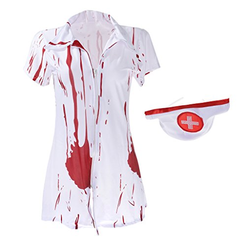 Homyl Cosplay Infirmire Costume d'Halloween Horreur Costume Sanglant Adulte