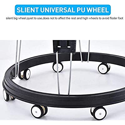 Adjustable Height Baby Walkers for Boys and Girls with Easy Clean Tray and Universal Wheels, Anti-Rollover Folding Toddler Walker for Baby 6-18Months (Black PU Cushion) : Baby