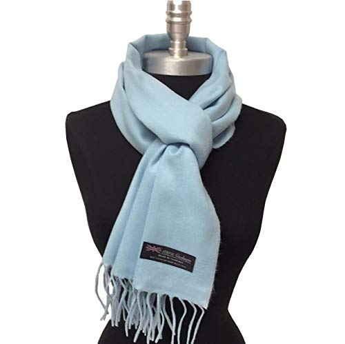 New 100% Cashmere Scarf Made In Scotland Solid Light Blue Color Super Soft Shawl Wrap For Men and Women - USA Seller